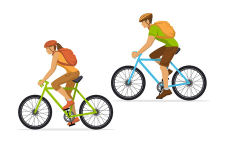 Man and Woman with backpacks traveling on mountain bikes. Couple outdoor cycling workout Иллюстрация