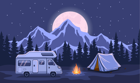 Family Adventure Camping Evening Scene. Caravan camper motorhome rv f journey to mountains. Pine forest and rocks background, starry night sky with moonlight