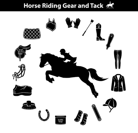 Woman Riding Horse Silhouette. Equestrian Sport Equipment Icons Set. Gear and Tack accessories.  Jacket, english saddle, breeches, gloves, boots, chaps, whip, horseshoes, grooming brush, pad, blanket, girth, fly mask, snaffle bit Ilustração