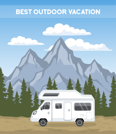 rocky road: Family vacation Road trip poster template. camper motorhome rv journey to mountains. Pine forest and rocks background Illustration