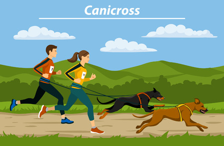 Couple, Man and Woman cani crosiing  with their dogs in nature landscape vector illustration. Outdoor Training Exercising
