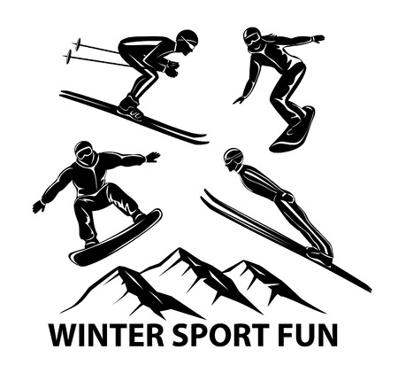 Winter Sports. Skiing, ski jumping and snowboarding sportmen silhouettes