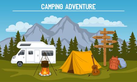 Camping mit Zelt, felsige Berge, Kiefernwald, Gitarre, Topf, Lagerfeuer, Wandern Rucksäcke, Wegweiser, Wohnwagen. Outdoor-Tourismus-Szene Vektorgrafik