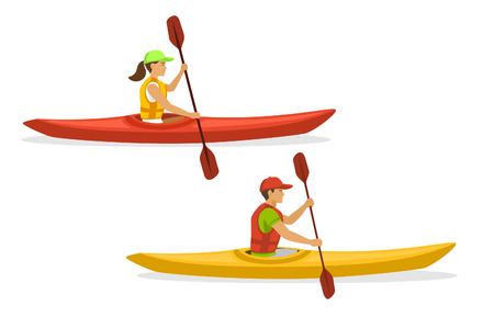 Man and Woman Kayaking Paddling on Boats. Isolated