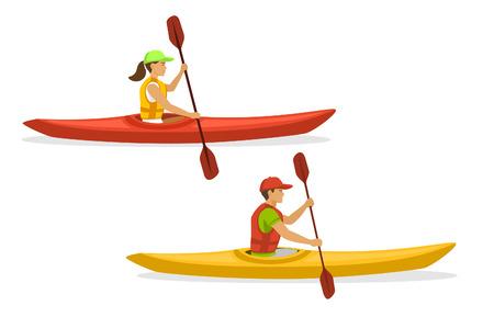Uomo e donna Kayak Paddling sulle barche. Isolato Archivio Fotografico - 66013776