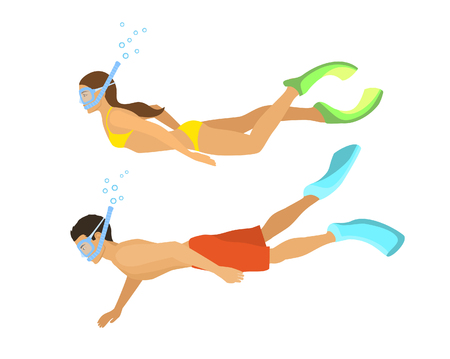 Man and Woman Snorkeling. Isolated