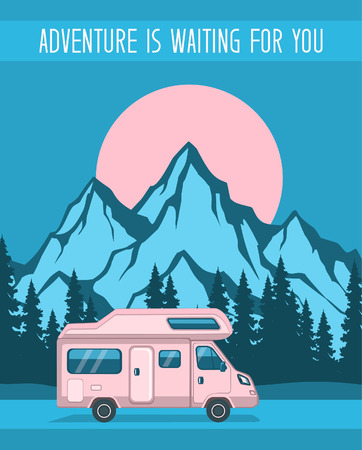 Family Adventure Road trip poster template, Caravan camper motorhome rv f journey to mountains. Pine forest and rocks background