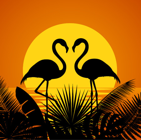 date fruit: two romantic flamingos silhouettes with tropical  leaves vector illustration
