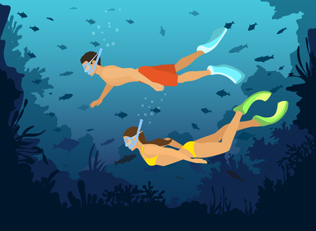 reefs: Man and Woman diving snorkeling exploring underwater world with fishes, corals, reefs