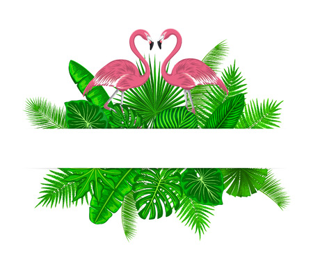 Tropical exotic plants with pink flamingos card template. place for your text