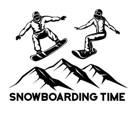 ice slide: Man and Woman Snowboarders in Black Contour