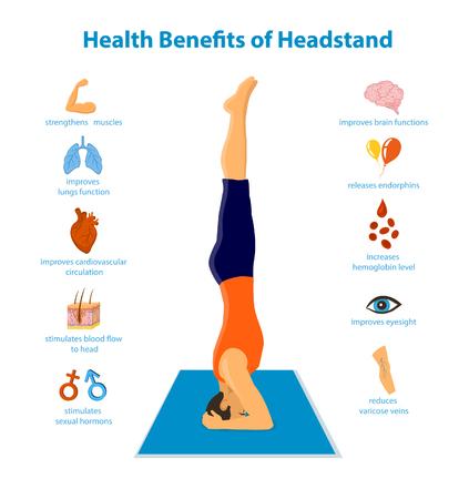 upside: Health Benefits of a Headstand Inforgraphics Vector Illustration. Man practicing headstand yoga sirsasana pose. human health elements: heart, lungs, skin, muscle strength, eyesight, brain, edema