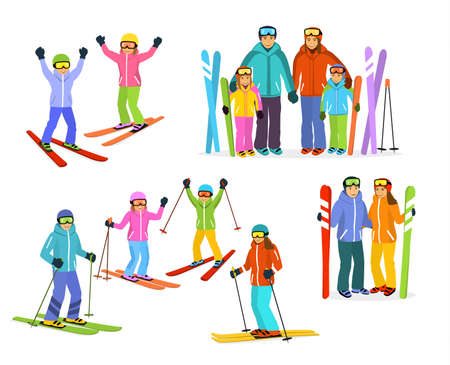 skiers: man, woman, boy and girl skiers set. couple, families and children winter fun activity collection