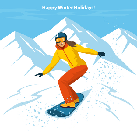 Young  Woman Snowboarding in Mountains. Winter Fun Sport Activities Vector Illustration Stock Vector - 66013858