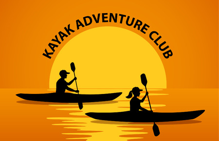 group fitness: Man and Woman Paddling in Kayaks at Sunset Silhouette Vector illustration