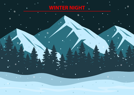 winter scene: Christmas Winter Night Scene  Background with rocky mountains, pine forest, snow hills, snowflakes