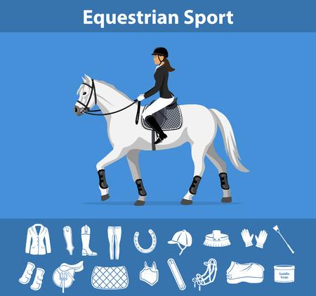 Kobieta jeździec konna w stroju widowiskowym. Equestrian Sport angielski zestaw ikon sprzętu. Akcesoria do biegów i akcesoriów. Kurtka, bryczesy, rękawiczki, buty, chaps, bicz, podkowy, szczotki do pielęgnacji, siodło, poduszka, koc, obwód, maska lotnicza, czubek