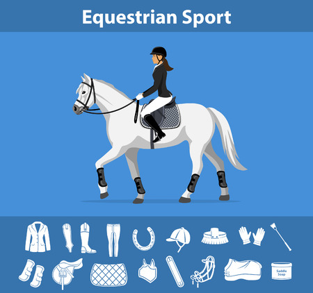 Woman Riding Horse in show outfit. Equestrian Sport English  Equipment Icons Set. Gear and Tack accessories.  Jacket, breeches, gloves, boots, chaps, whip, horseshoes, grooming brush, saddle, pad, blanket, girth, fly mask, snaffle bit Stock Illustratie