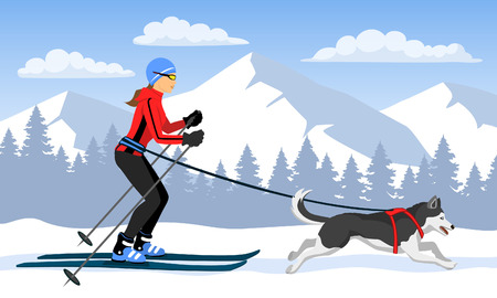 Woman skijoring with her dog . Winter Mountain landsccape