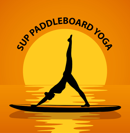 stand up: Stand up paddleboard Yoga. Woman silhouette in downwards facing dog leg air pose Illustration
