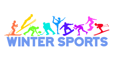 speed skating: Winter Ice Snow Sports Banner Background including cross country, freestyle skiiing, sowboarding, speed skating, ski jumping, curling and figure skating, ice hockey