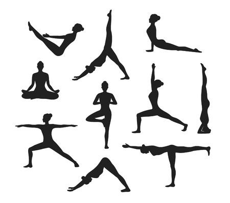 Entrenamiento Yoga. Siluetas de una mujer en el árbol, Sirsasana, Barco, Guerrero uno, dos, tres, hacia abajo y hacia arriba perro, loto, poses headstand