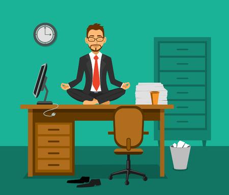 Uitgeput werknemer mediteren op een bureau in het kantoor. Ontspanning op de werkplek.