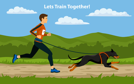 cross country: Canicross Sport Cross Country Training. Man running with his dog outdoor.