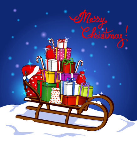 Merry Christmas Greeting Card with Sleigh and Presents Gifts