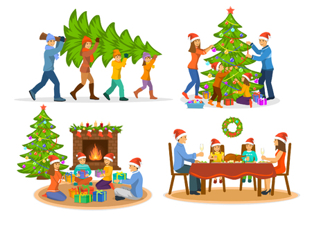 Familys  Christmas Winter Activities Set. Man woma and children carry xmas tree; decorating it with balls, garland and stars; sitting on floor, giving exchanging presents and celebrating having dinner Vectores