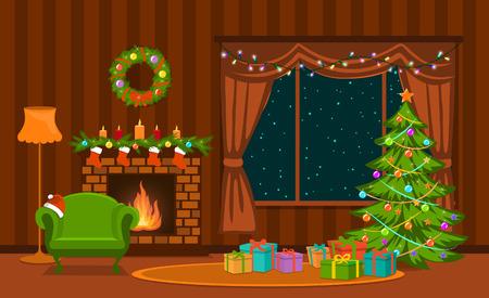 Kerst woonkamer met kerstboom, lichten, cadeaus, open haard, fauteuil, decoratie en cadeautjes