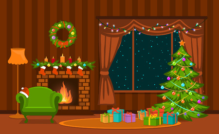 Christmas living room with xmas tree, lights, presents, fireplace, armchair, decoration and presents