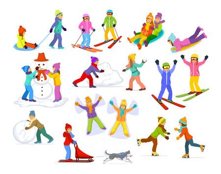 Kinder genießen Winterspaß Aktivitäten in Schnee und Eis: Rodeln, Skifahren, Eiskunstlauf, Schneeballspiel zu zahlen, der Schneemann zu machen, Reiten Schlitten mit Husky