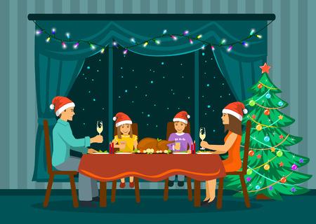 メリー クリスマスと幸せな新年を祝っての背後には、泊星と大きな窓の前で自宅のリビング ルームに座っている家族