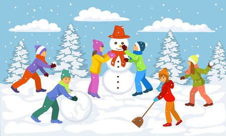 Winter Scene with children playing outside snow ball, making snowmen, having fun Illustration