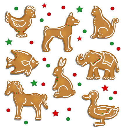 bisquit: Christmas Gingerbread Cookies as Animals Illustration