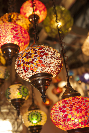 Colorful lantern lamps traditional style. Concept for arabic, islamic culture and design. Ornate Glass Lamps Stock Photo