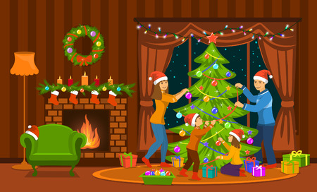 Family decorating christmas tree in living room at home scene