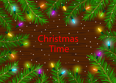 greeen: Merry Christmas background with led bulbs lights and pine tree branches