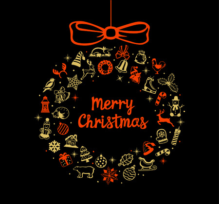 Merry Christmas and Happy New Year decoration, winter holiday elements arranged in circle as hanging xmas tree ball with bow. in gold, red and black colors Illustration