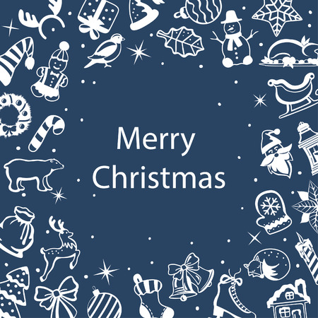 Merry Christmas and Happy New Year, seasonal, winter greeting frame card with decoration xmas objects, design elements in white color on blue with place for your text