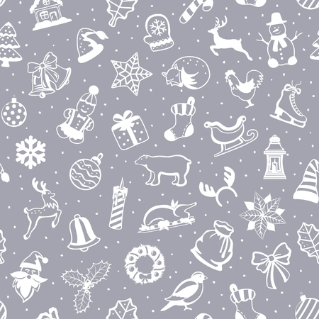 Merry Christmas and Happy New Year seasonal winter Seamless Pattern Texture with decoration items objects elements design set collection including christmas tree, santa sleigh with presents, fireplace with wreaths and candles, garlands with lights, socks  Illustration