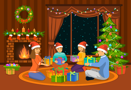 Happy Family, man, woman parents and kids celebrating merry christmas scene, sitting in living room on the floor at fireplace and decorated christmas tree, exchanging xmas presents. Vettoriali