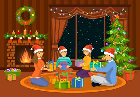Happy Family, man, vrouw, ouders en kinderen vieren vrolijk kerstmis scène, zitten in de woonkamer op de vloer open haard en versierde kerstboom, het uitwisselen van xmas presenteert.