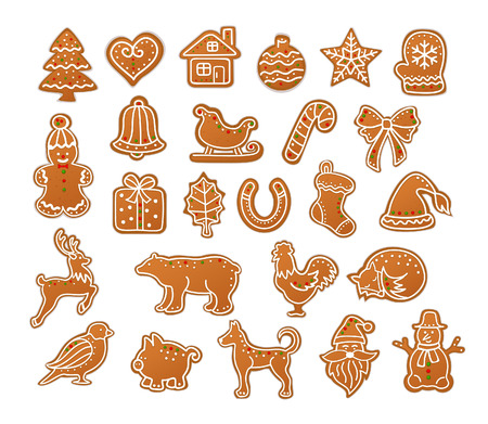 Merry Christmas Winter Gingerbread Cookies collection set Illustration