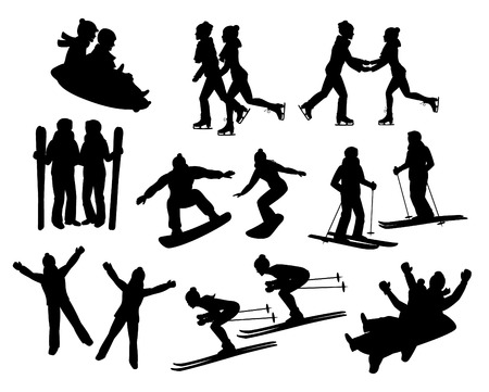 couple's winter fun activities silhouettes set. Man and woman skating holding hands, sledding together, skiing, lying on snow and snowboarding