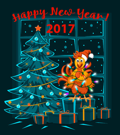 artoon: Merry Christmas and Happy New Year 2017 winter card with cute funny Rooster wrapped with xmas lights, standing on presents. Illustration