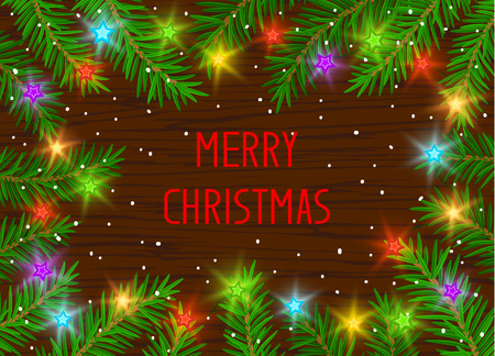 Merry Christmas and Happy New Year 2017 winter card background template with xmas tree branches and festive led stars lights