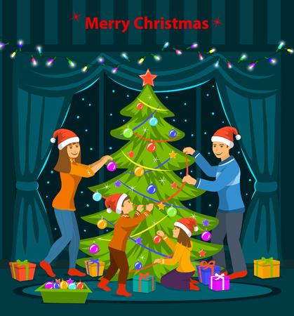 Familie Versieren Kerstboom In De Woonkamer Thuis Scène Royalty ...