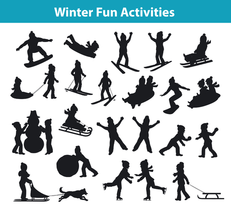 dog sled: Childrens Winter fun activities in ice and snow silhouette set collection, kids palying snowballs, making snowman, sledding downhill, rolling snow, skating, snowboarding, skiing, riding on sleigh pulled by husky dog and lying on snow Illustration